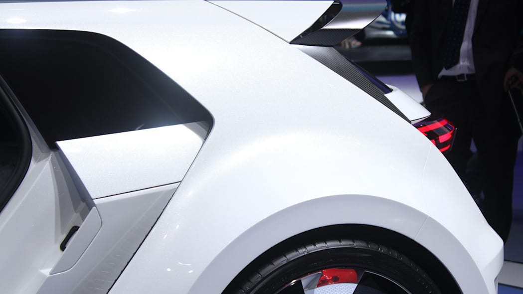 The Volkswagen Golf GTE Sport concept showed off at the 2015 Frankfurt Motor Show, rear hatch spoiler.