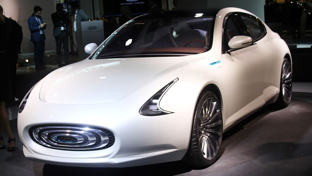 The Thunder Power electric sedan showed off for the first time at the 2015 Frankfurt Motor Show, front thee-quarter view.