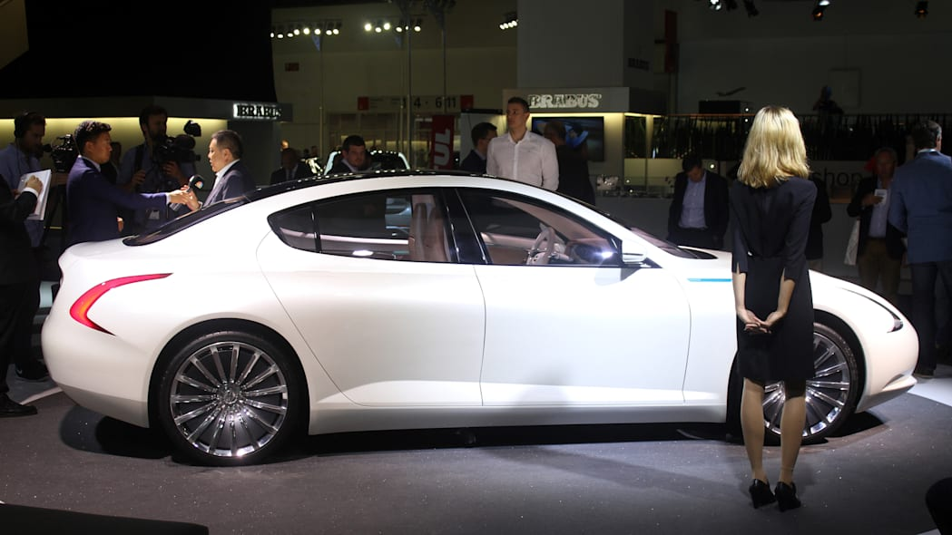 The Thunder Power electric sedan showed off for the first time at the 2015 Frankfurt Motor Show, side view.
