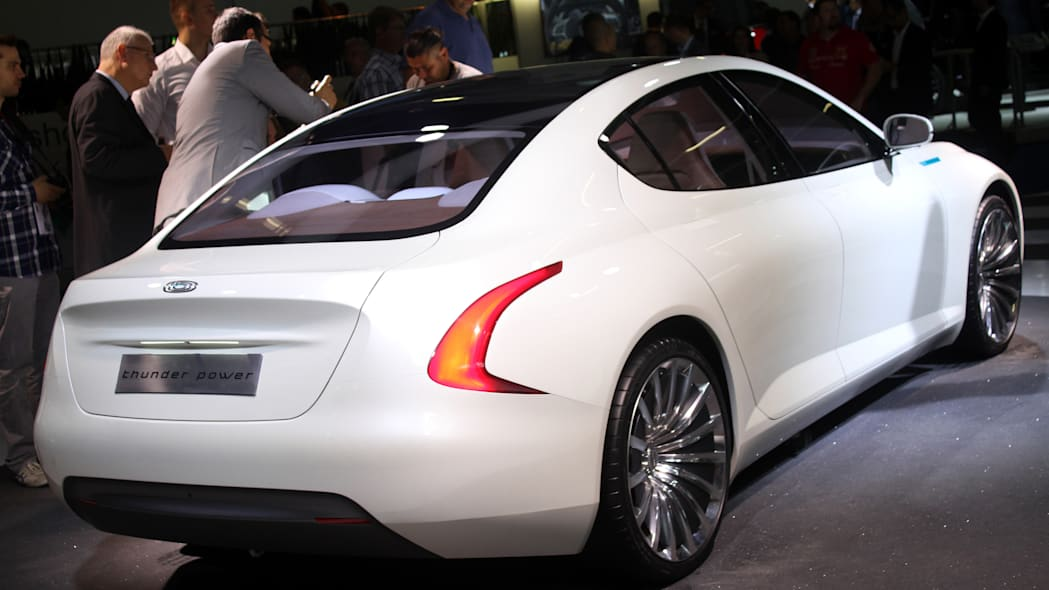 The Thunder Power electric sedan showed off for the first time at the 2015 Frankfurt Motor Show, rear three-quarter view.