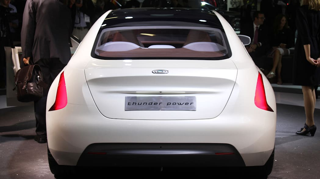 The Thunder Power electric sedan showed off for the first time at the 2015 Frankfurt Motor Show, rear view.
