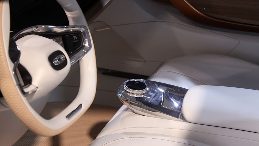 The Thunder Power electric sedan showed off for the first time at the 2015 Frankfurt Motor Show, detail of center armrest controls.