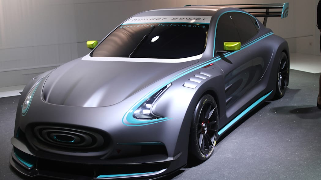 The electric Thunder Power Racer revealed at the 2015 Frankfurt Motor Show, near front three-quarter view.