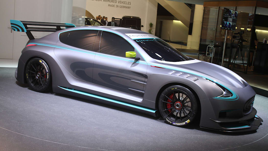 The electric Thunder Power Racer revealed at the 2015 Frankfurt Motor Show, front three-quarter.