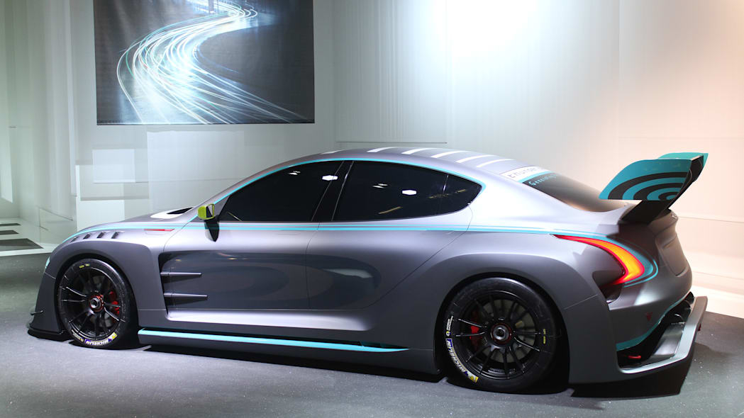 The electric Thunder Power Racer revealed at the 2015 Frankfurt Motor Show, side view.