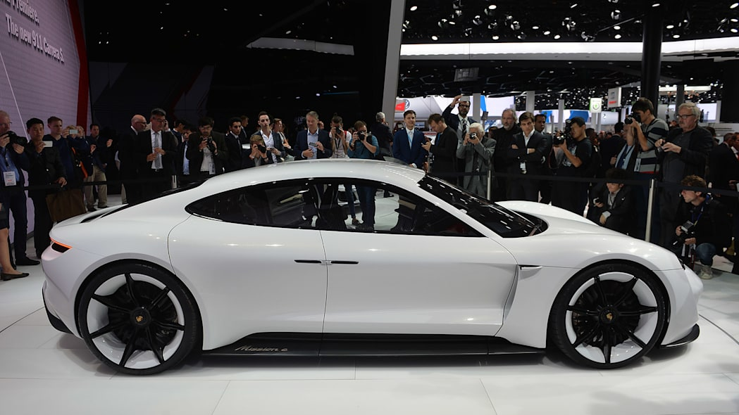The Porsche Mission E concept, showed off at the 2015 Frankfurt Motor Show, side view.