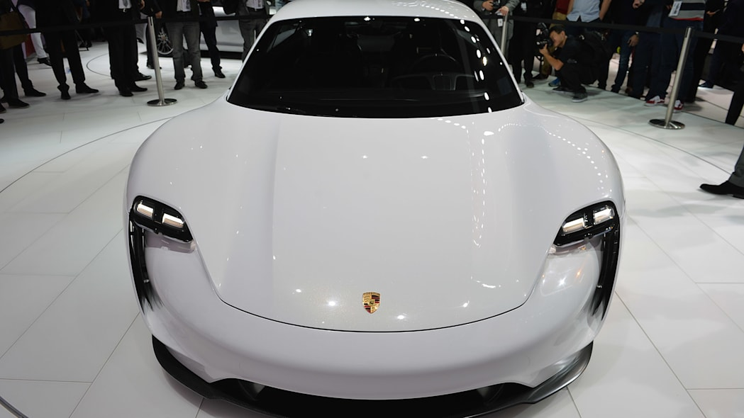 The Porsche Mission E concept, showed off at the 2015 Frankfurt Motor Show, front view.