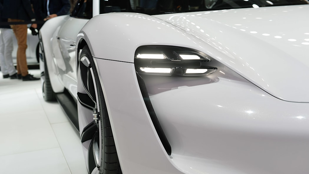 The Porsche Mission E concept, showed off at the 2015 Frankfurt Motor Show, headlight.