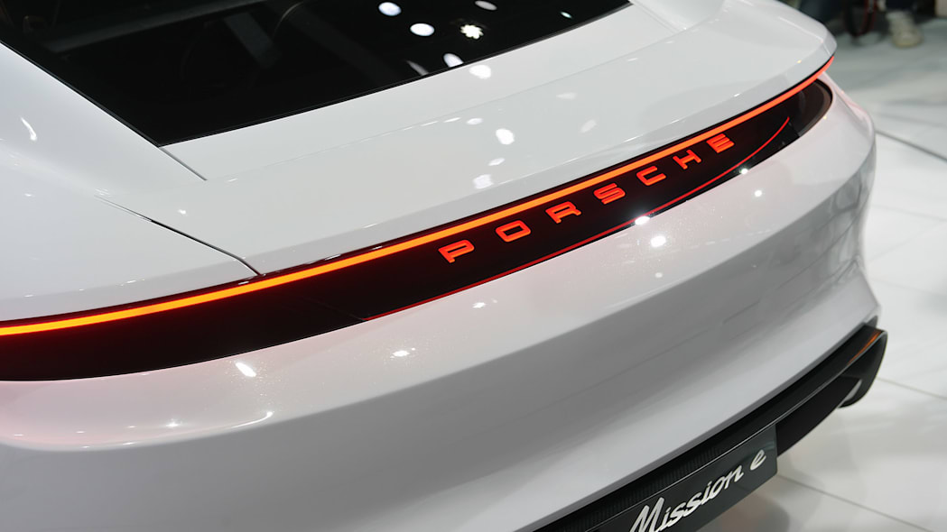 The Porsche Mission E concept, showed off at the 2015 Frankfurt Motor Show, detail of the rear bumper.
