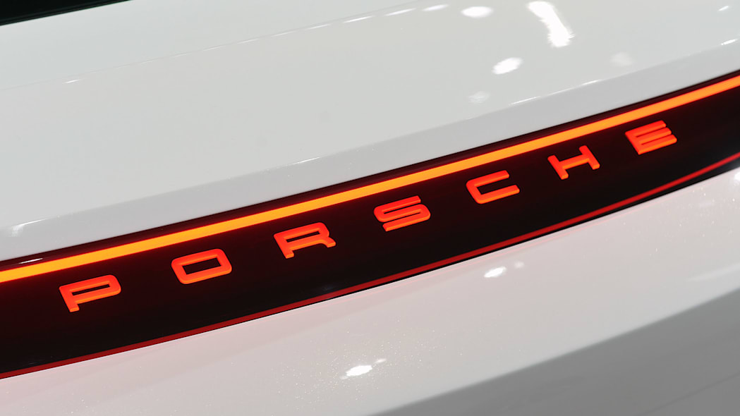 The Porsche Mission E concept, showed off at the 2015 Frankfurt Motor Show, taillight detail.