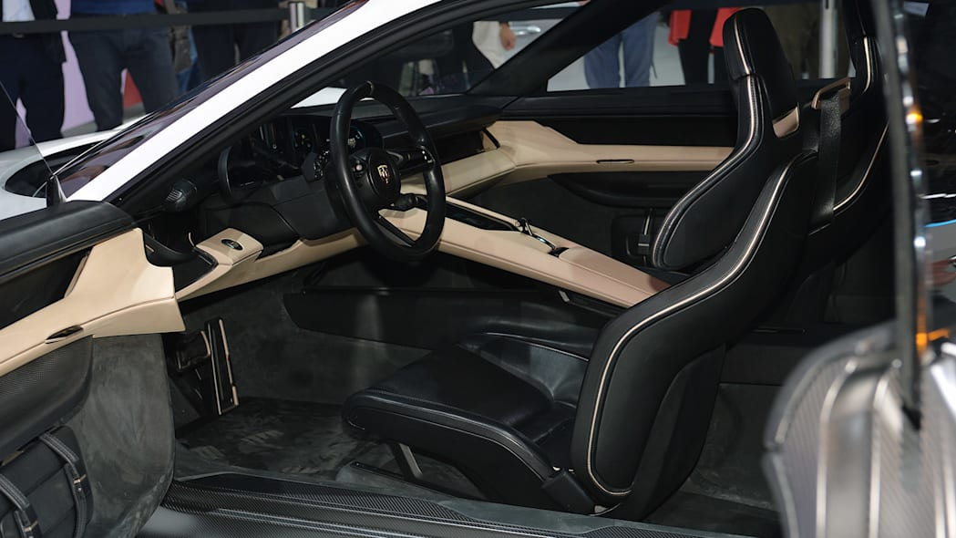 The Porsche Mission E concept, showed off at the 2015 Frankfurt Motor Show, driver's compartment.