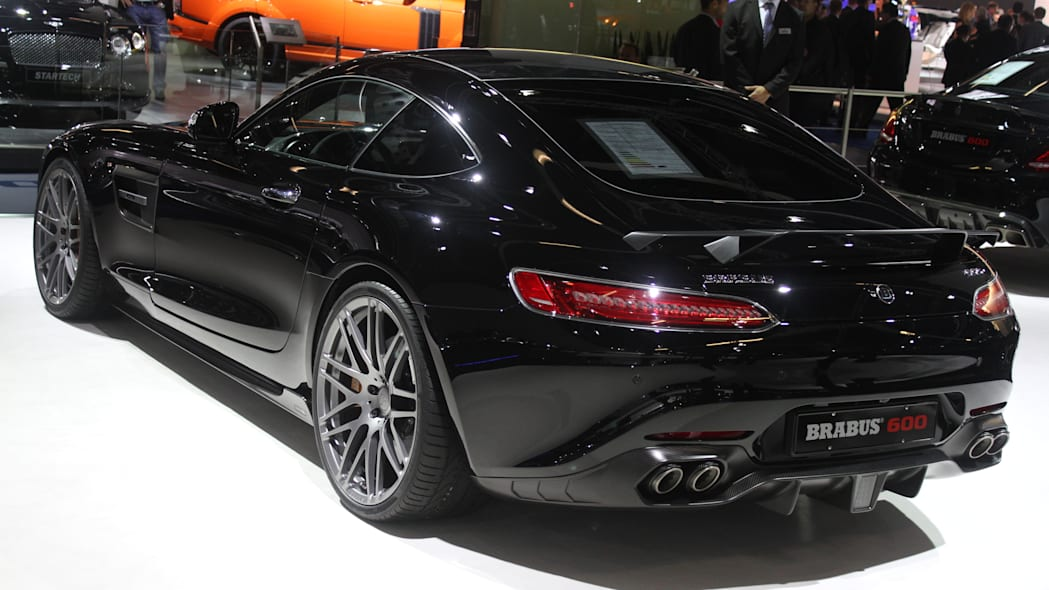 The Brabus 600, a tuned Mercedes-AMG GT S, at the Frankfurt Motor Show, rear three-quarter view.