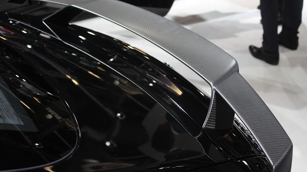 The Brabus 600, a tuned Mercedes-AMG GT S, at the Frankfurt Motor Show, rear wing detail.