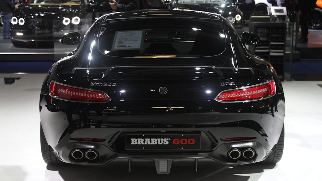 The Brabus 600, a tuned Mercedes-AMG GT S, at the Frankfurt Motor Show, rear view.