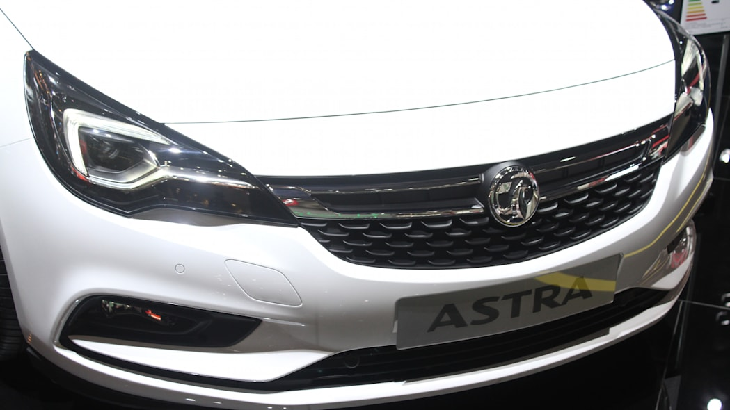 The new 2016 Opel Astra at the Frankfurt Motor Show, front fascia detail.