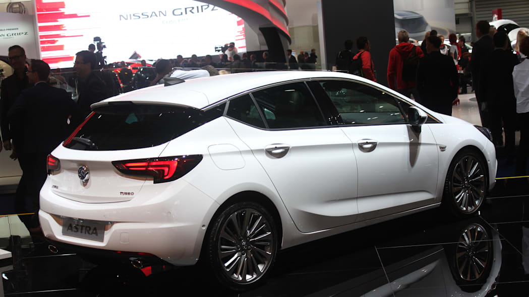 The new 2016 Opel Astra at the Frankfurt Motor Show, rear three-quarter view.