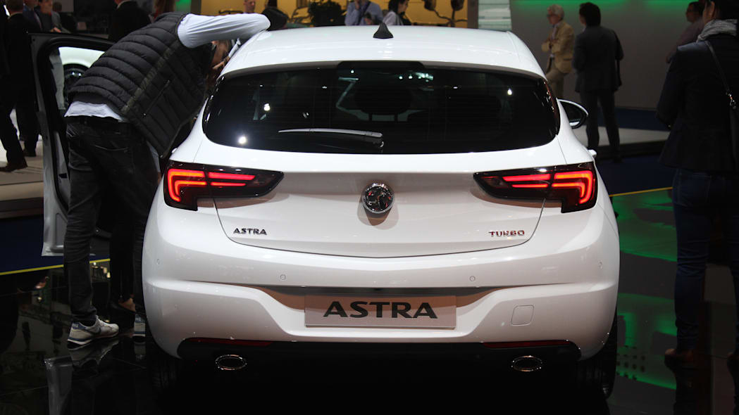 The new 2016 Opel Astra at the Frankfurt Motor Show, rear view.