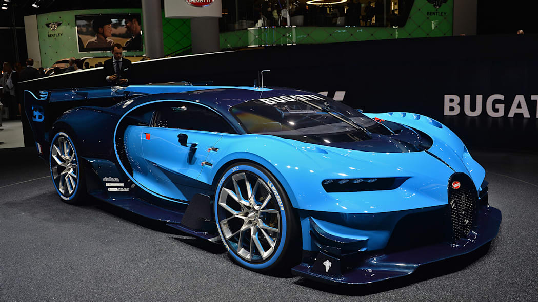 The Bugatti Vision Gran Turimso, designed for the Sony Playstation game Gran Turismo, at the 2015 Frankfurt Motor Show, front three-quarter view.