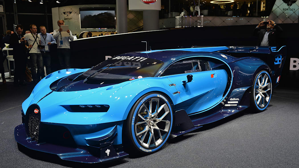 The Bugatti Vision Gran Turimso, designed for the Sony Playstation game Gran Turismo, at the 2015 Frankfurt Motor Show, near front three-quarter view.