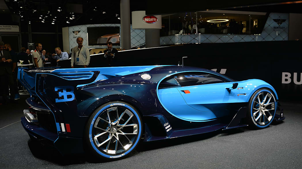 The Bugatti Vision Gran Turimso, designed for the Sony Playstation game Gran Turismo, at the 2015 Frankfurt Motor Show, near rear three-quarter view.