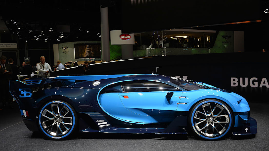 The Bugatti Vision Gran Turimso, designed for the Sony Playstation game Gran Turismo, at the 2015 Frankfurt Motor Show, driver's side view.