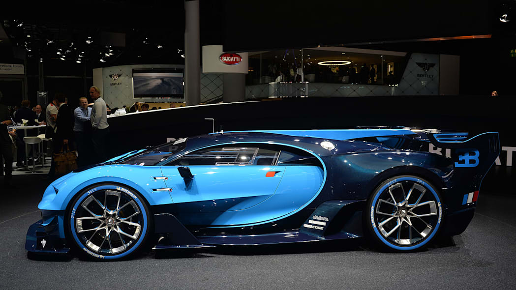 The Bugatti Vision Gran Turimso, designed for the Sony Playstation game Gran Turismo, at the 2015 Frankfurt Motor Show, passenger's side view.