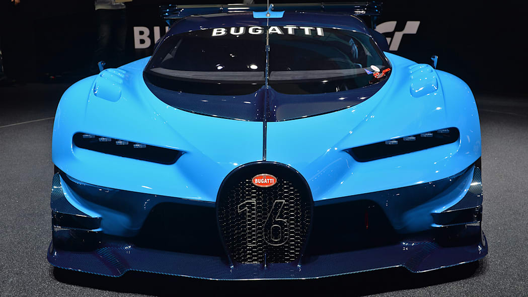 The Bugatti Vision Gran Turimso, designed for the Sony Playstation game Gran Turismo, at the 2015 Frankfurt Motor Show, front view.