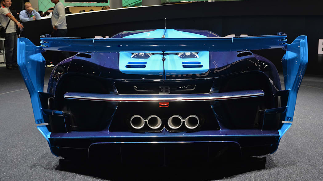 The Bugatti Vision Gran Turimso, designed for the Sony Playstation game Gran Turismo, at the 2015 Frankfurt Motor Show, rear view.