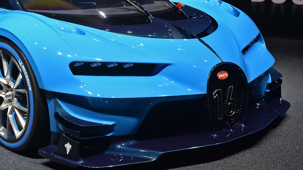 The Bugatti Vision Gran Turimso, designed for the Sony Playstation game Gran Turismo, at the 2015 Frankfurt Motor Show, front fascia.