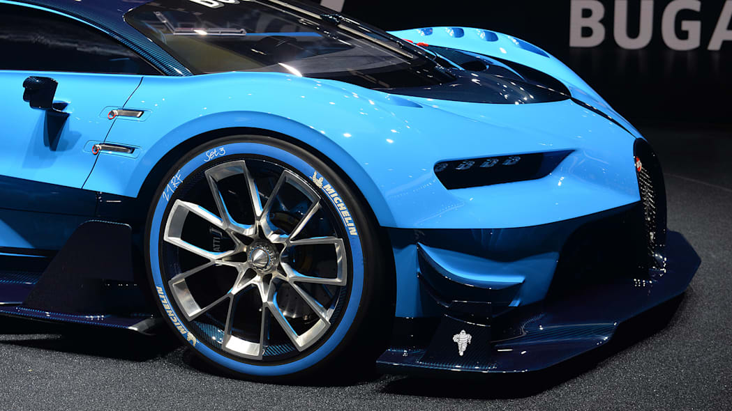 The Bugatti Vision Gran Turimso, designed for the Sony Playstation game Gran Turismo, at the 2015 Frankfurt Motor Show, front corner detail.