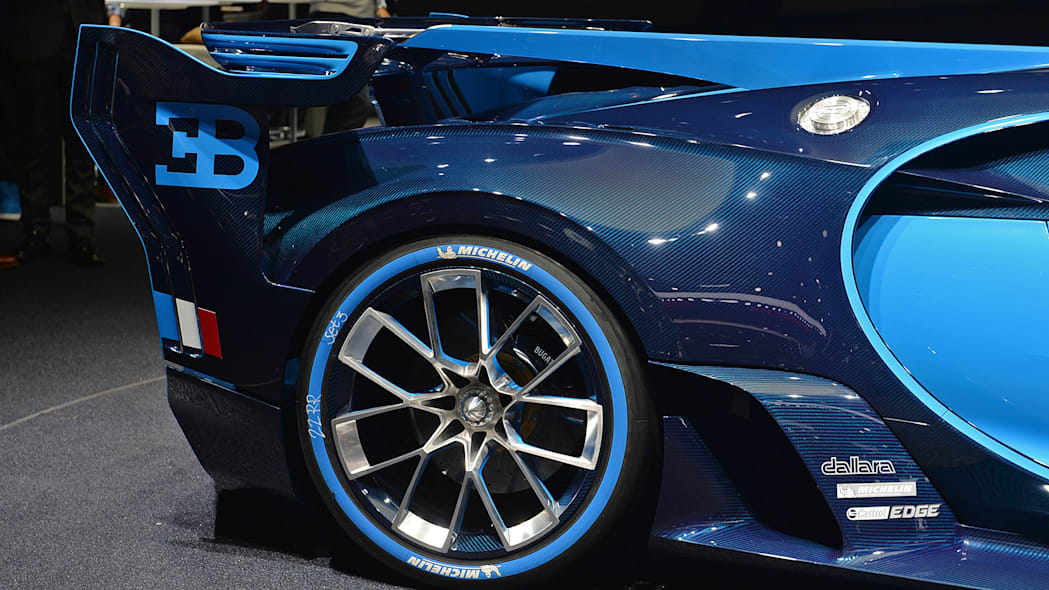 The Bugatti Vision Gran Turimso, designed for the Sony Playstation game Gran Turismo, at the 2015 Frankfurt Motor Show, rear corner detail.