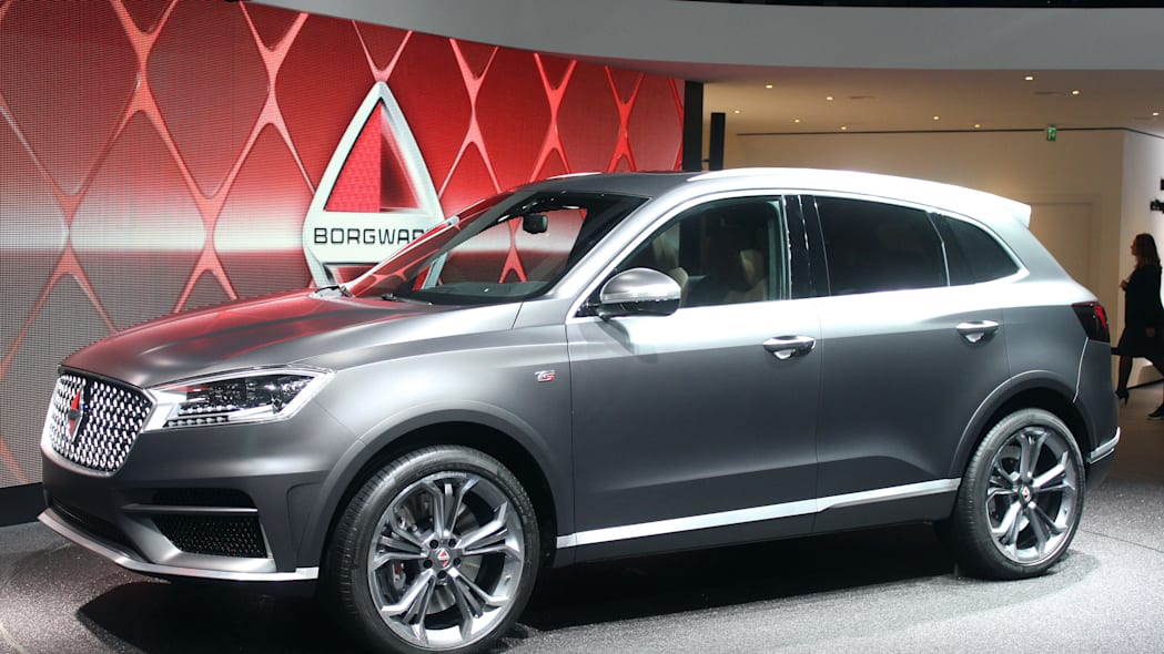 The Borgward BX7 TS, resurrecting the Borgward brand name after 50 years, unveiled at the 2015 Frankfurt Motor Show, near front three-quarter.