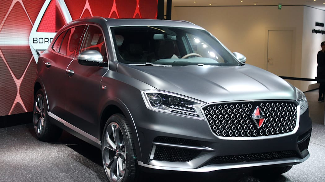 The Borgward BX7 TS, resurrecting the Borgward brand name after 50 years, unveiled at the 2015 Frankfurt Motor Show, front three-quarter.