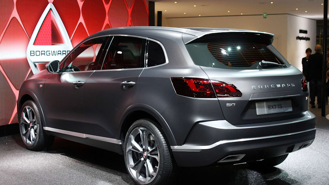 The Borgward BX7 TS, resurrecting the Borgward brand name after 50 years, unveiled at the 2015 Frankfurt Motor Show, rear three-quarter view.