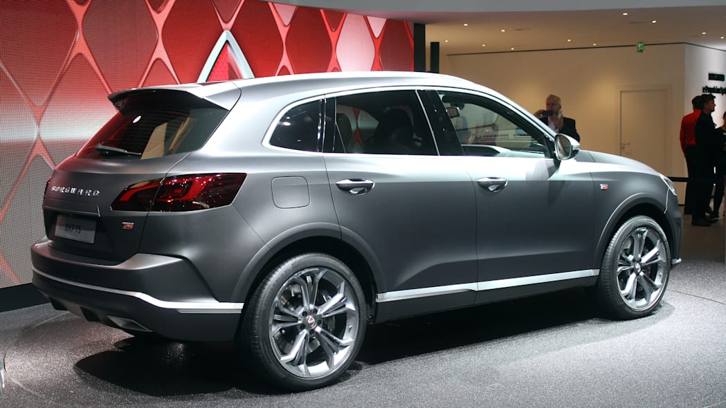 The Borgward BX7 TS, resurrecting the Borgward brand name after 50 years, unveiled at the 2015 Frankfurt Motor Show, near rear three-quarter view.