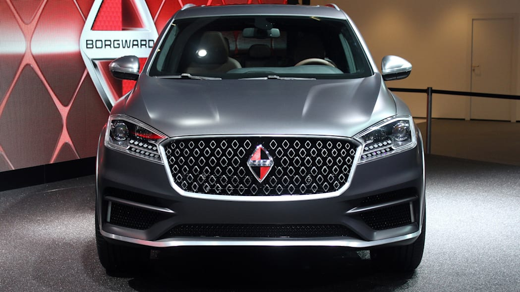 The Borgward BX7 TS, resurrecting the Borgward brand name after 50 years, unveiled at the 2015 Frankfurt Motor Show, front view.