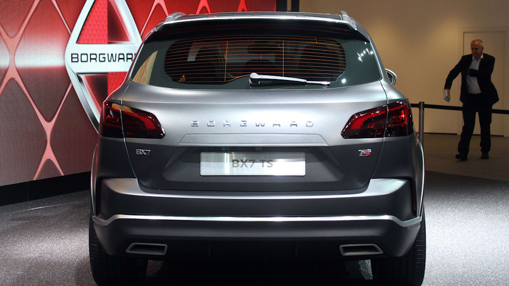The Borgward BX7 TS, resurrecting the Borgward brand name after 50 years, unveiled at the 2015 Frankfurt Motor Show, rear view.