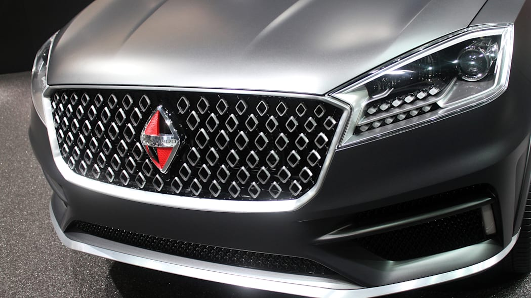 The Borgward BX7 TS, resurrecting the Borgward brand name after 50 years, unveiled at the 2015 Frankfurt Motor Show, front fascia detail.