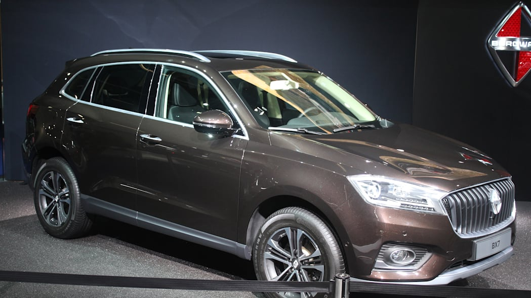 The Borgward BX7, resurrecting the Borgward brand name after 50 years, unveiled at the 2015 Frankfurt Motor Show, front three-quarter view.