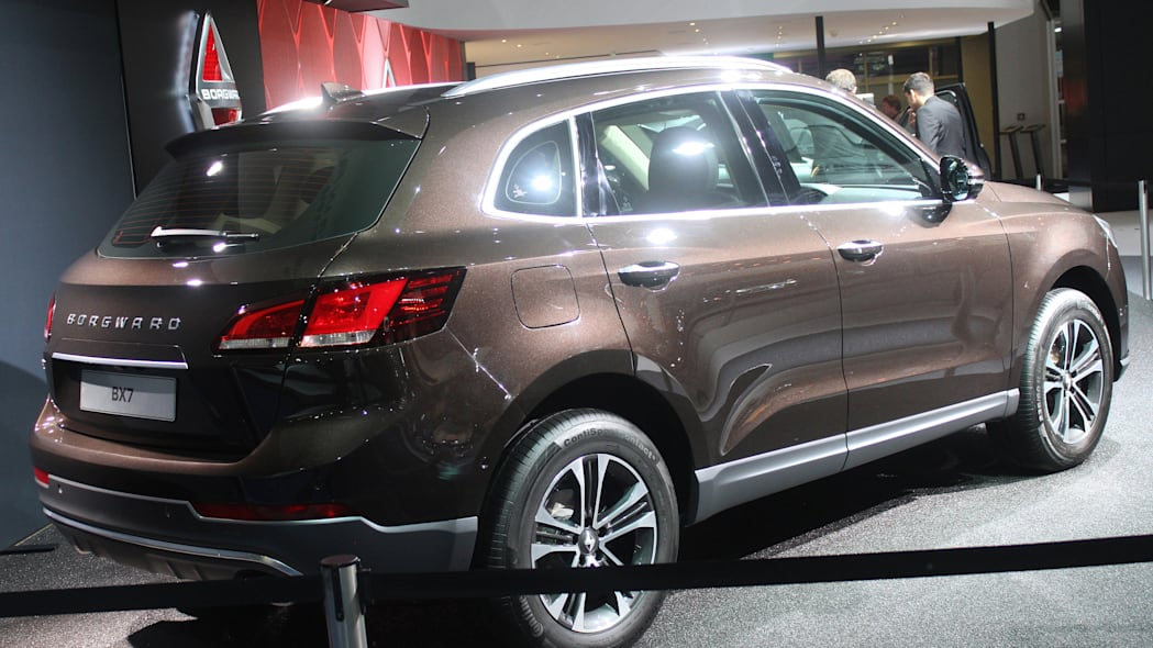 The Borgward BX7, resurrecting the Borgward brand name after 50 years, unveiled at the 2015 Frankfurt Motor Show, rear three-quarter view.