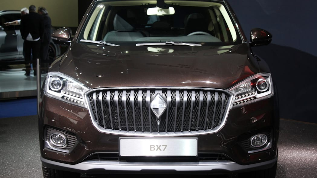 The Borgward BX7, resurrecting the Borgward brand name after 50 years, unveiled at the 2015 Frankfurt Motor Show, front view.