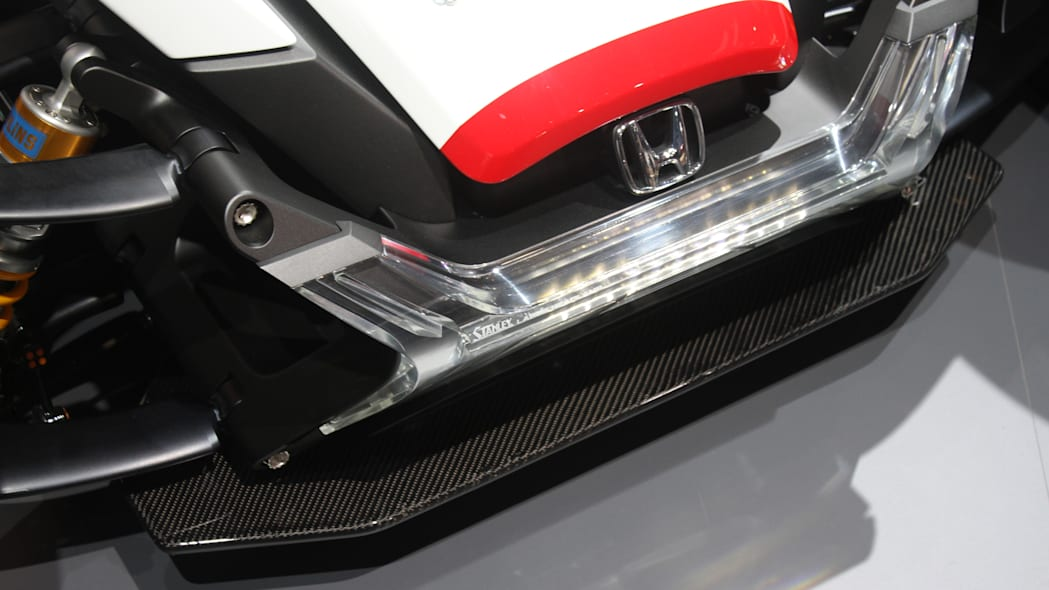 Honda Project 2 & 4 concept that combines the company's RC-213vs MotoGP bike with a car, at the 2015 Frankfurt Motor Show, detail of front bumper.