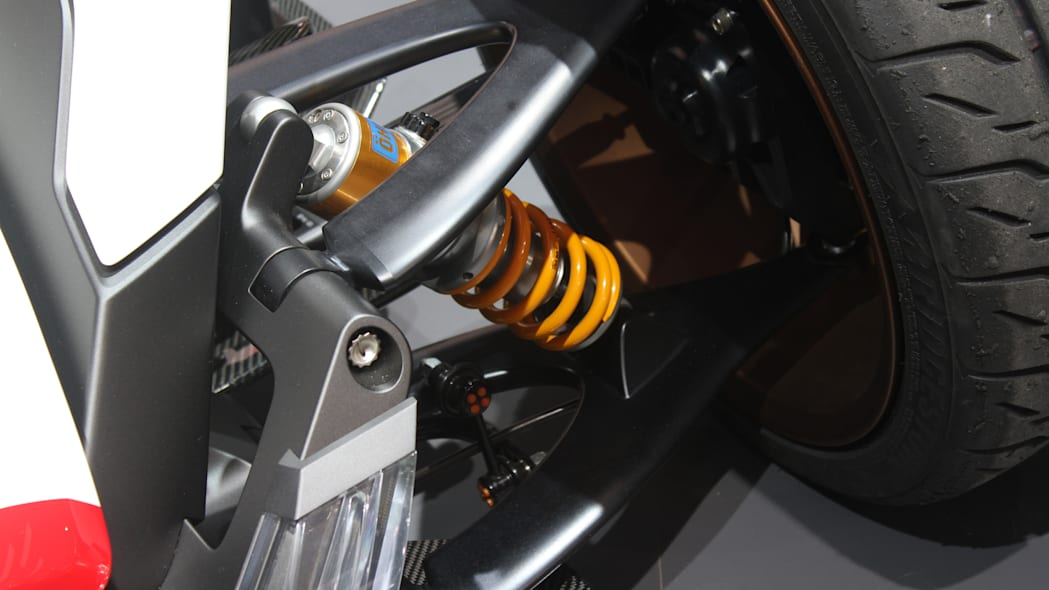 Honda Project 2 & 4 concept that combines the company's RC-213vs MotoGP bike with a car, at the 2015 Frankfurt Motor Show, detail of front suspension.
