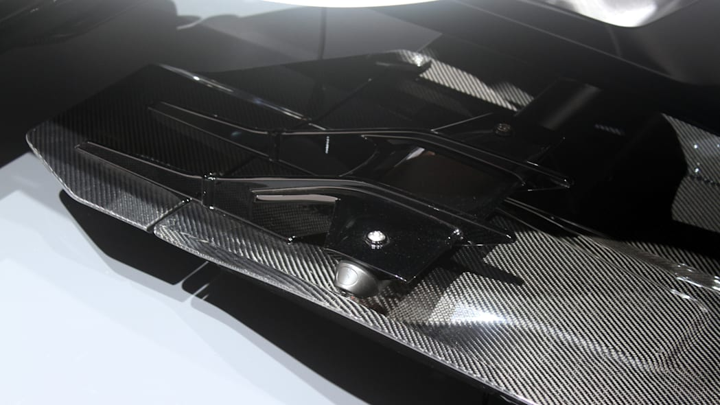 Honda Project 2 & 4 concept that combines the company's RC-213vs MotoGP bike with a car, at the 2015 Frankfurt Motor Show, detail of aerodynamics opposite the driver.