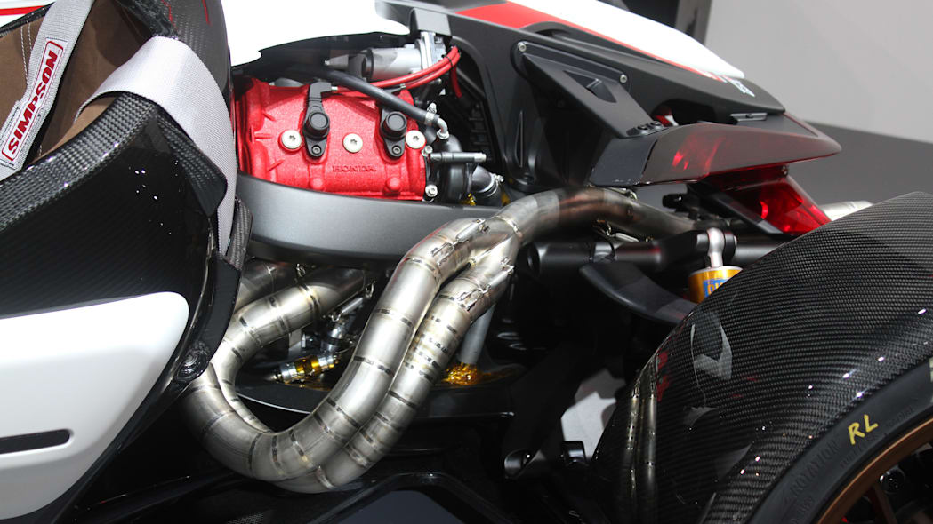 Honda Project 2 & 4 concept that combines the company's RC-213vs MotoGP bike with a car, at the 2015 Frankfurt Motor Show, engine detail.
