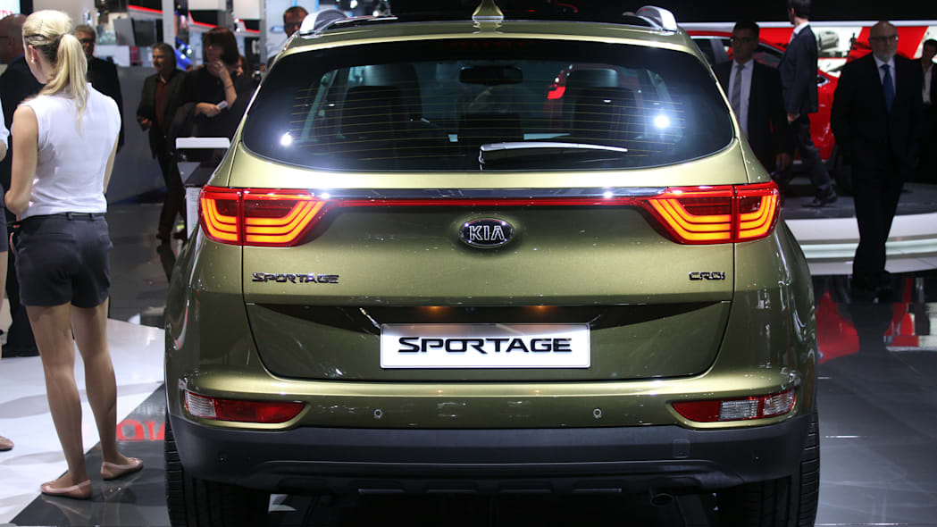 The 2016 Kia Sportage, revealed at the 2015 Frankfurt Motor Show, rear view.