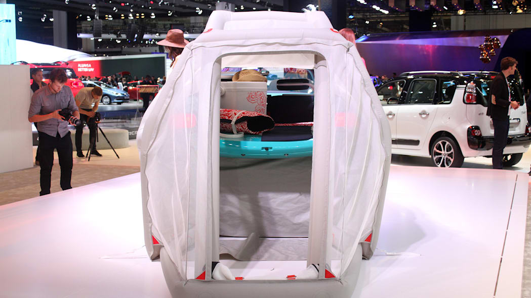The Citroen Cactus M Concept at the 2015 Frankfurt Motor Show, rear view looking into the cabin through the tent.