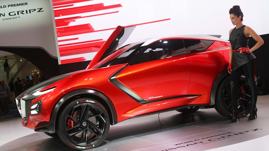 The Nissan Gripz concept unveiled at the 2015 Frankfurt Motor Show, side view with model.