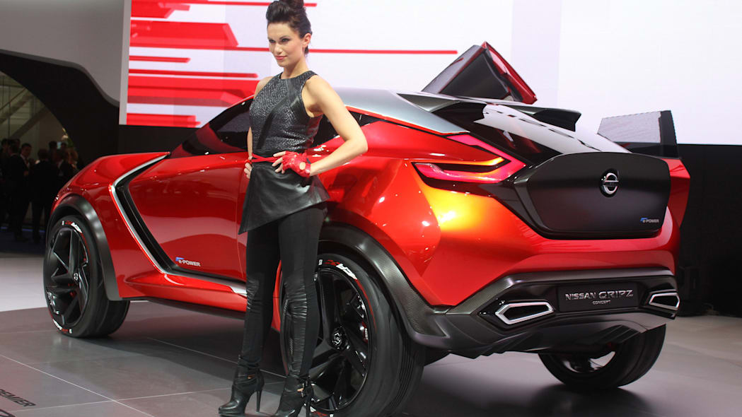 The Nissan Gripz concept unveiled at the 2015 Frankfurt Motor Show, rear three-quarter view, with model.