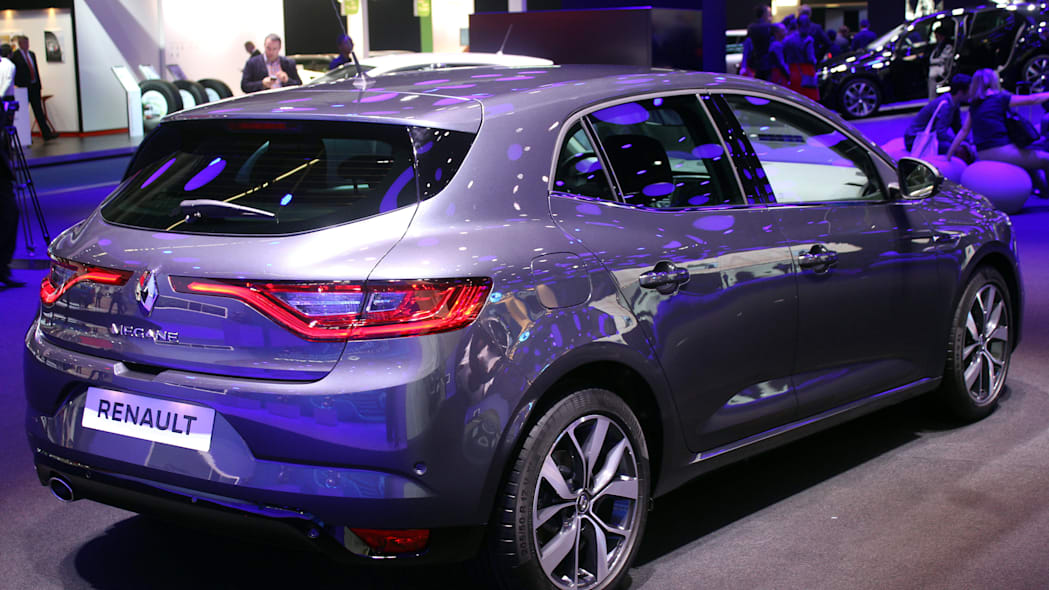 The 2016 Renault Megane, introduced at the 2015 Frankfurt Motor Show, rear three-quarter view.